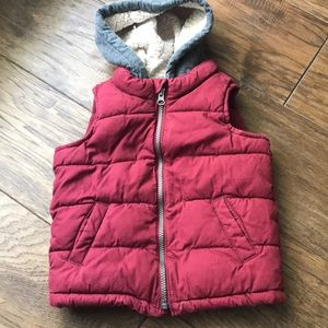 Cranberry-colored Hooded Pullover